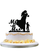 Couple with Little Boy Silhouette, Mr and Mrs Wedding Cake Topper