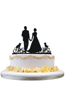 Unique Love Wedding Cake Toppers Bride and Groom Mr and Mrs Wedding Cake Topper with two pet dogs