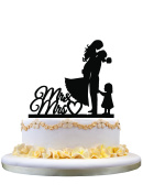 Wedding Cake Topper Bride and Groom with little GIRL Mrs & Mr
