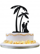 Palm tree wedding cake topper with bride and grrom couple