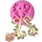 Anyana Vintage European Relief Baroque Scroll Wedding Border Silicone Mould cupcake