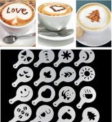 Ruotong Hot 16Pcs Coffee Latte Art Stencils DIY Decorating Cake Cappuccino FoamTool CN (Colour