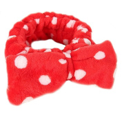 RuiChy Fashion Sweet Lovely Coral Fleece Bowknot Makeup Cosmetic Hair Band