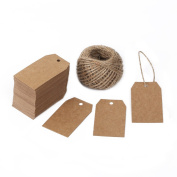 G2PLUS® 100 PCS Kraft Gift Tags 2.7''x 1.5'' Brown Craft Tags with String Blank Hang Tags with 30m Jute Twine