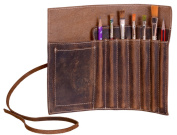 KomalC leather Pen case Pencil holder leather  stationery  case pouch for students and artists KOMALC Genuine Leather Pen Pencil Roll - Pen and Pencil Case pouch