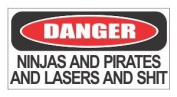 (3) Danger ninja and pirates funny hard hat / helmet stickers by JS Artworks