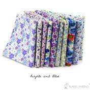 RayLineDo® 10 Pcs Different Pattern Multi Colour 100% Cotton Poplin Fabric Fat Quarter Bundle 46cm x 60cm Patchwork Quilting Fabric Blue and Purple Series