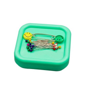 Chris-Wang Light Green Magnetic Sewing Pin Cushion/Pincushion/Holder/Storage Case for Quilting Safety Pins, Flower Head Straight Pins, Glass Head Pins and Paperclips