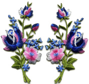 Pink blue roses pair flowers floral bouquet boho embroidered appliques iron-ons patches new