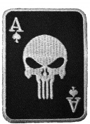 Spade Card Poker Punisher Skull Embroidered Sewing Iron on Patch - Black and White by Ranger Return