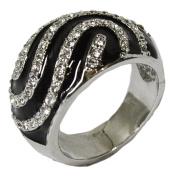 Women's Rhodium Plated Dress Ring Austrian Crystal and Enamel 048