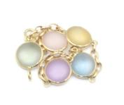 Multi-colour Frosted Gemstones Plain 90cm Bracelet 14k Yellow Gold Chain