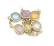 Multi-colour Frosted Gemstones Fancy 90cm Bracelet 14k Yellow Gold Chain