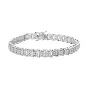 Sterling Silver Round Cut Diamond Fan-Shaped Bracelet