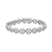 Sterling Silver Round Cut Diamond Eternity Wheel Bracelet