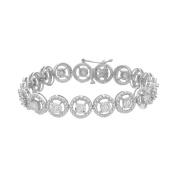 Sterling Silver Round Cut Diamond Circle Link Bracelet