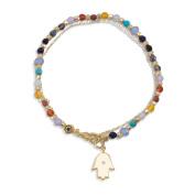 Layered Bracelet Hamsa Charm and Genuine Stone Beads Gold-plated