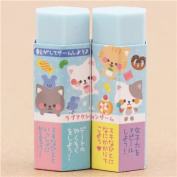 Cute blue cat mouse sweet hexagon shape scented eraser from Japan