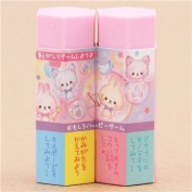 Cute pink cat rabbit hexagon shape scented eraser from Japan