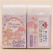 Cute light purple animal jewel flower scented eraser from Japan