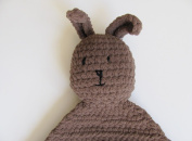 Plush Brown Bunny Security Blanket, Lovey Soothing Baby Toy, Made in USA