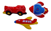 Baby Boy Plush Rattle Set - Plane, Fire Truck, and Rocket - Development Toys, Best Gift for Baby Showers and Infants