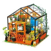 ROBOTIME DIY Dollhouse Wooden Miniature Furniture Kit Mini Green House with LED Best Christmas Gift