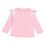 Botrong Newborn Infant Baby Girls Lace Flying Long Sleeve T-Shirt Tops Clothes