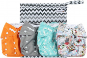 Anmababy 4 Pack Adjustable Size Waterproof Washable Pocket Cloth Nappies with Inserts and Wet Bag