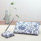 Wedding Accessories Blue Floral Accent Guest Book and Pen Set - by KateMelon