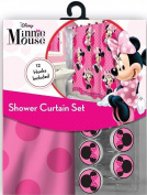 13pc Disney Pink Minnie Mouse Shower Curtain and Hooks Set