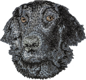 Flat-Coated Retriever, Embroidery, patch with the image of a dog