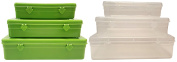Set of 6 Black Duck Brand Storage & School Supply Containers in 3 Different Sizes - 4 Assorted Colours - Perfect for Fishing, School Supplies, Jewellery, Crafts, Small Toys and More!