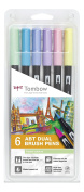 Tombow Dual Brush Pens Pastels - Pack of 6 Colours
