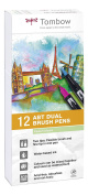 Tombow Dual Brush Pens Pastels - Pack of 12 Colours