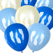 Feather Balloons (16 pcs) | Tribal Baby Shower, Boy, Blue, Boho | by Nerdy Words