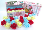 Easter Rose Bath Bomb, 15 Colourful Charing Rose Flowers in a yellow rose gift box.