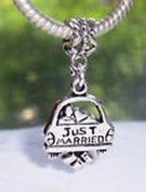 Beads Hut - Just Married Newlywed Bridal Wedding Honeymoon Bead for European Charm Bracelets