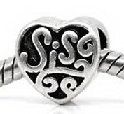 Beads Hut - Sis Sister Heart Love Family Gift fits Silver European Style Charm Bracelets