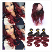 Tony Beauty Hair Two Tone 1B/99J Wine Red Ombre 360 Lace Frontal Closure With Weaves Silky Straight 3 Bundles Burgundy Ombre Peruvian Human Hair With 360 Band Lace Closure 4Pcs Lot