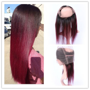 Tony Beauty Hair Wine Red Ombre 360 Full Lace Frontal Closure Pre Plucked Silky Straight #1B/99J Burgundy Red Ombre 360 Band Lace Closure 20cm - 60cm