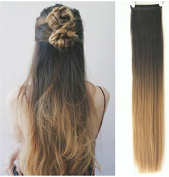 60cm 3/4 Head One Piece Ombre Dip Dyed Straight Clip-in Hair Extensions (Natural black to blonde) DL