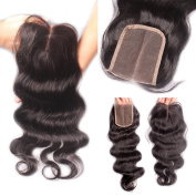 Rishang Hair Brazilian Body Wave Lace Closure Bleached Knots Virgin Hair Closure with Baby Hair Middle Part Closure Lace Front Closure
