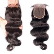 Rishang Hair 4x 4 Brazilian Lace Closure with Bleached Knots Brazilian Body Wave Lace Closure Free Part Lace Closure Human Hair Top Closure