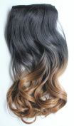 43cm 120grams Thick One Piece Half Head Wavy Curly Ombre Clip in Hair Extensions(Col. Natural black/honey blonde) …