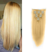 FUT 50cm 70g Straight Full Head 15 Clips in Human Hair Pieces Extensions 7 PCS for Girl Lady Women Bleach Blonde