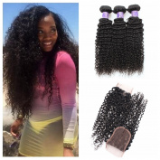 Angels Beauty Virgin Brazilian Curly Human Hair 3 Bundles with Free Part Lace Closure Afro Kinkys Curly Hair Extensions Natural Colour