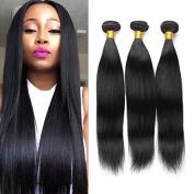 Brazilian Human Virgin Hair Silky Straight Extension Hair 3 Bundles Grade 8A Virgin Extensions Hair Natural Black Colour (100+/-5g) Per Bundle