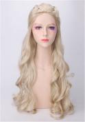 OYSRONG 80cm Women Long Curly Anime Daenerys Targaryen Costume Cosplay Lace Cap Wig