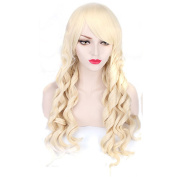 Yesui Cosplay Wigs Long Curly Wave Party Wig with Bang Synthetic Heat Resistant Hairs for Women
